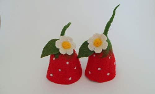 Eierwärmer Erdbeere rot, 2 Stück als Set aus Filz, Tischdekoration Frühling, Erdbeerzeit