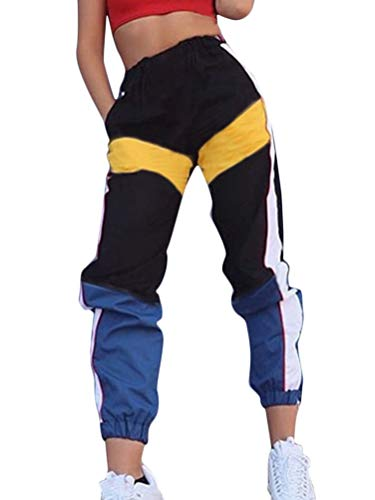 Shallood Mujer Pantalones Cargo Color Sólido Hip Hop Streetwear Pantalones Alta Cintura Harem Sport Sueltos Patchwork Jogger Pant Amarillo Medium