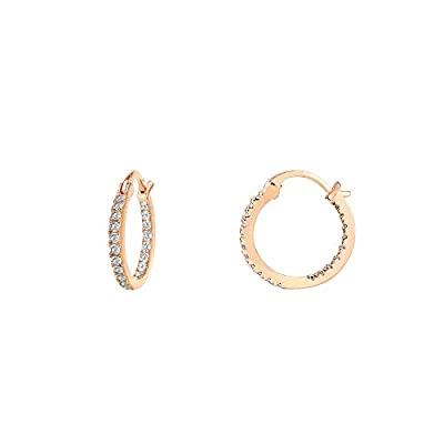 PAVOI 14K Gold Plated 925 Sterling Silver Post Cubic Zirconia Hoop Earrings | Small Rose Gold Hoops