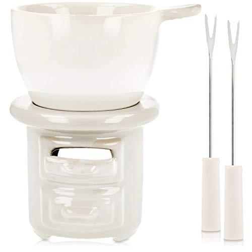 Preisvergleich Produktbild COM-FOUR® Schokoladen Fondue-Set aus Steingut mit Fondue Gabeln - Teelichtfondue für gemütliche Abende (04-teilig)