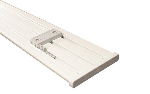 Gardinenschiene 3 und 4 läufig aus Aluminium in weiß mit Deckenclips, 450 cm (3 x 150 cm)