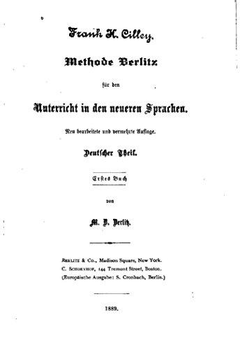 Methode Berlitz Fuer den Unterricht in den Neueren Sprachen, Deutscher Theil (German Edition) PDF Books