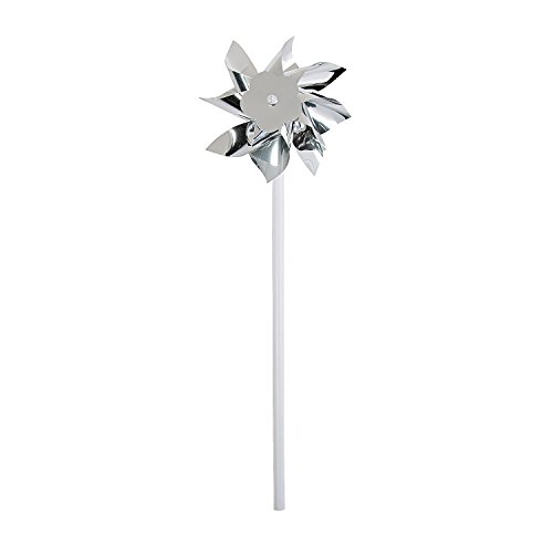Fun Express Pinwheels for Kids (Bulk Set of 36) Great for Weddings, Yards and Garden Decor (Silver)