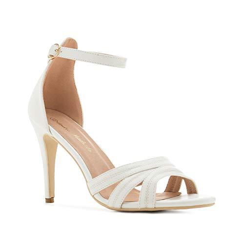 Elegante Sandalen/Sandaletten für Damen und Junge Frauen - in Soft-Weiß mit Knöchelspange und Absatz - AM5419 - EU 35