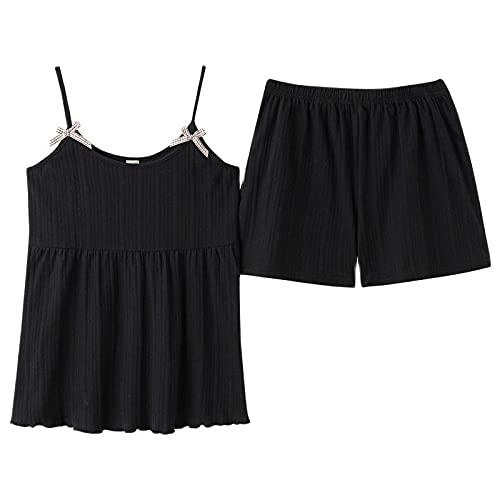 Pantalones de Pijamas de Verano 2 Piezas Conjunto Traje algodón Dulce Cuello Redondo Tirantes Femeninos Femeninos casero camisón Conjuntos exóticos-Negro_SG