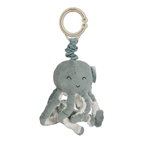 Tiamo Little Dutch 4820 Stoff Aufziehtier Oktopus Tintenfisch Spielzeug für die Babyschale / den Kinderwagen Ocean Mint 7x7,5x18 cm