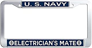US Navy Electrician's Mate Metal Auto License Tag Holder Waterproof Stainless Steel Auto License Tag Holder(12