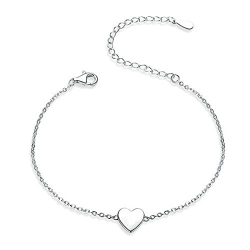 AMTBBK Pulsera de Plata esterlina S925 - Pulsera en Forma de corazón, Pulida Fina geométrica Pulida Pulida pulverizada Pulida para Mujer y niñas