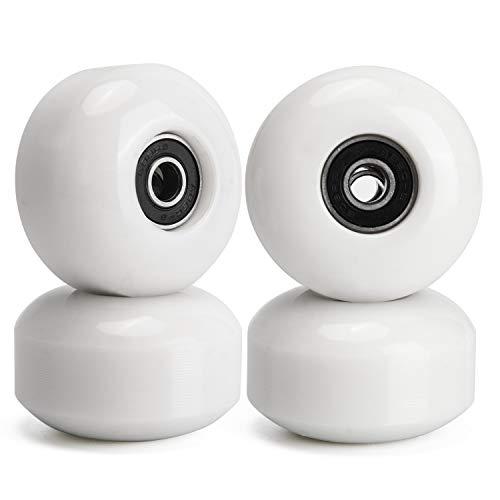 TOBWOLF - Ruote per skateboard, 52 mm, 95 A, con cuscinetti ABEC 9, ruote per skateboard, ruota longboard per strada e parcheggio, colore: Bianco