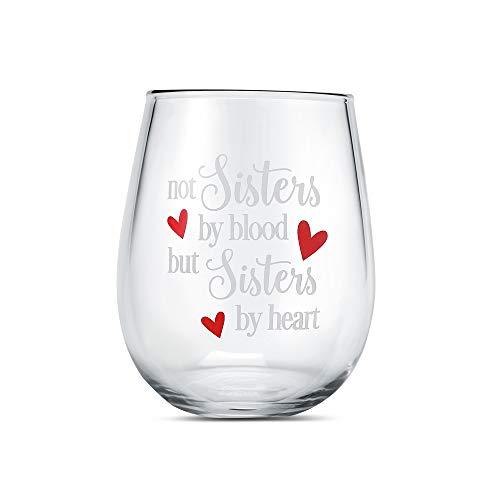 Yalucky Copas de Vino con No Hermanas de Sangre Sino Hermanas de corazón Refranes Divertidos Mejores Amigos Regalos de cumpleaños para Mujeres Mujer niña Vino Amor Idea de Regalo