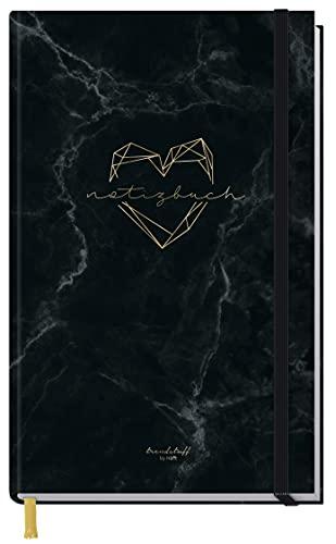Cuaderno cuadriculado A6+ con banda de goma [Marble Heart] con 156 páginas, 78 hojas, cuaderno de notas, diario de Trendstuff by Häfft, sostenible y climáticamente neutro.