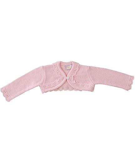 Babyprem Babykleidung 0-23 Monate Bolero Strickjäckchen Pullover Rüschen Rosa Creme ROSA 6-9