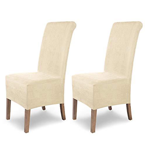 SCHEFFLER-Home Stretch Stuhlhusse Leon / 2er Set elastische Stuhlabdeckungen aus Wildleder | Stuhlhussen Schwingstühle / Spannbezug mit Gummiband als Elegante Stuhlbezüge