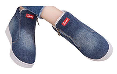 Gyoume Winter Jeans Ankle Boots Women Denim Snow Boots Shoes Zipper Flat Wedge Boots Shoes Keep Warm Winter Boots