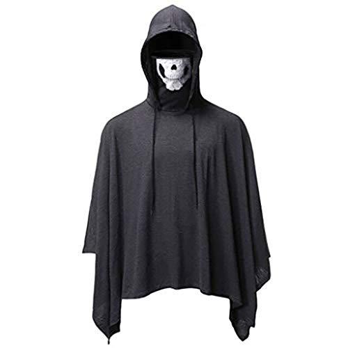 ALISIAM Blusa de Moda para Hombre Máscara de cráneo Capa Top de Gran tamaño Novedad Color Puro Sudadera con Capucha Camisa Casual