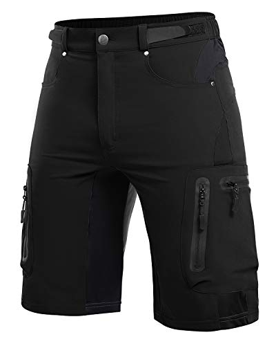Cycorld MTB-Shorts-Men-Mountain-Bike-Shorts, Loose-fit Bicycle Cycling Shorts Mens MTB Baggy Shorts Relaxed with 6 Pockets (New Black, XL)