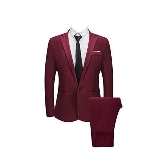 acction Traje Suit Hombre 2 Piezas Chaqueta Abrigo PantalóN Traje al Estilo Occidental Blazers Negocios Slim Fit Chaquetas de Traje Trajes Hombre para Boda
