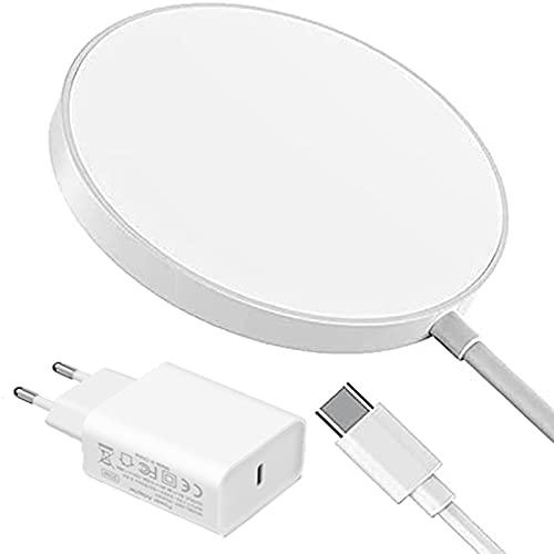 SCCVEE Cargador magnético inalámbrico, con 20 W PD y USB C, carga rápida de 15 W, estación de carga por inducción compatible con iPhone 12/12 Mini/12 Pro/12 Pro Max, AirPods Pro/2