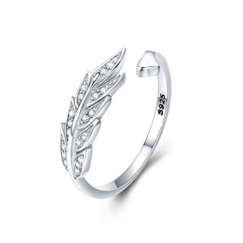 FOREVER QUEEN 925 Sterling Silver Feather Ring for Women Adjustable Ring Plumage Ring for Girl Open Finger Leaf Ring Gift