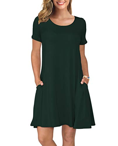 KORSIS Women's Summer Casual T Shirt Dresses Short Sleeve Swing Dress with Pockets DarkGreen XS