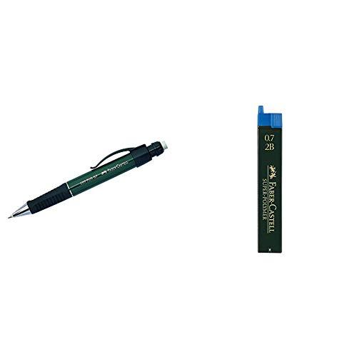 Faber Castell 570733 - Portaminas, 0.7 mm, color verde + 120702 - Minas, 12 unidades, Gris, 2B, 0.7 mm