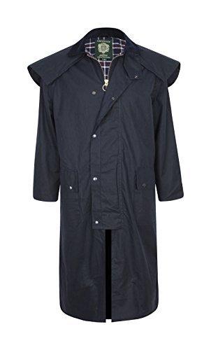 Stockman Unisex Premium Kwaliteit Gevoerd Waxed Cape Lange Regenjas Gemaakt in het Verenigd Koninkrijk