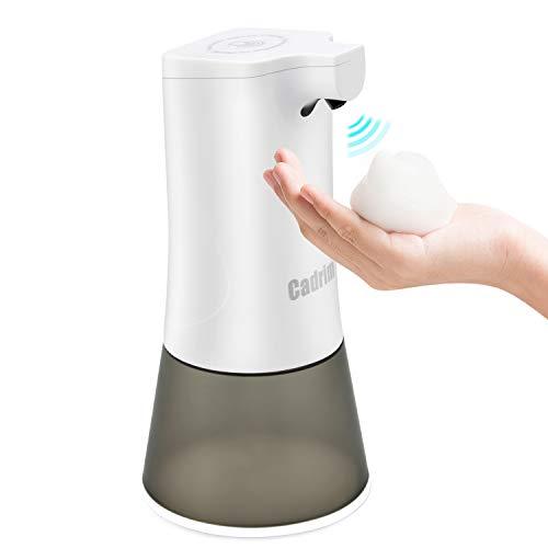 Cadrim Dispenser Automatico di Sapone, Dispenser di Sapone e Lozione 350ML Senza Contatto 2 Livelli di Impostazione, Ricaricabile USB per Bagno, Cucina, Scuola, Ufficio
