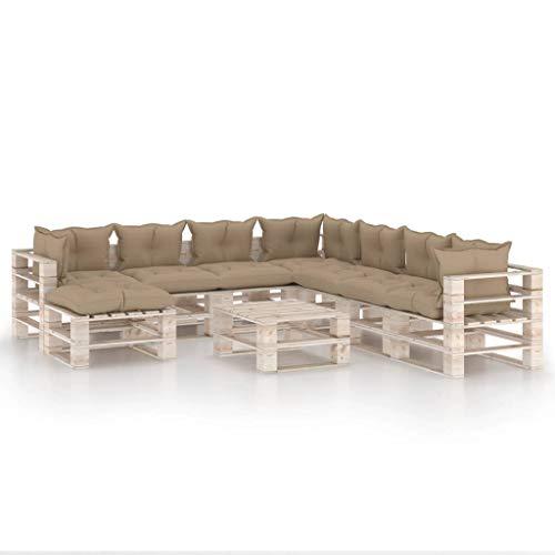 vidaXL - Paleta de madera de pino, 9 piezas con cojines, muebles de exterior, muebles de jardín, muebles de terraza, muebles de patio
