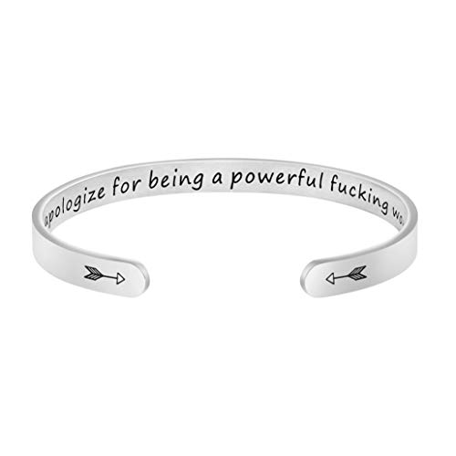 Joycuff Never Apologize for Being A Powerful Funking Woman Inspirational Feminist Mantra Cuff Bracelet Girl Power Gift for Teens Friend Motivational Quote