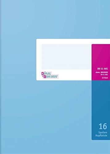 König & Ebhardt 8611661-7116K40KL Spaltenbuch mit Kopfleiste (A4, 16 Spalten, 40 Blatt)