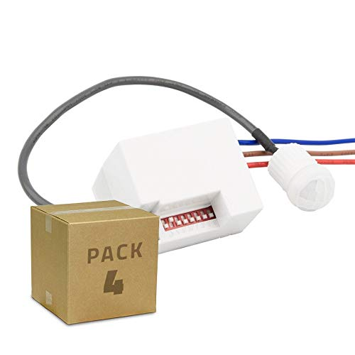 LEDKIA LIGHTING 4er Pack Anwesenheitsmelder PIR 120º Mini (4St.) Weiß
