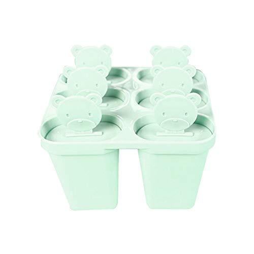 HshDUti 6 Fentes de Crème Glacée Lolly Pop Mould DIY Maker Moule Plateau Pan Cuisine Outil Avec Couvercle Green