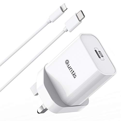 Quntis 30W iPhone iPad Fast Charger USB C Charger With 2m C to Lightning Cable MFi Certified QC&PD 3.0 Charger for iPhone SE 2020/12/12 mini/12 pro/11/11 Pro/XR/XS/X, iPad Pro Air Min