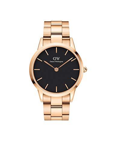 Daniel Wellington Reloj icónico con eslabones, oro rosa o pulsera de eslabones plateados.