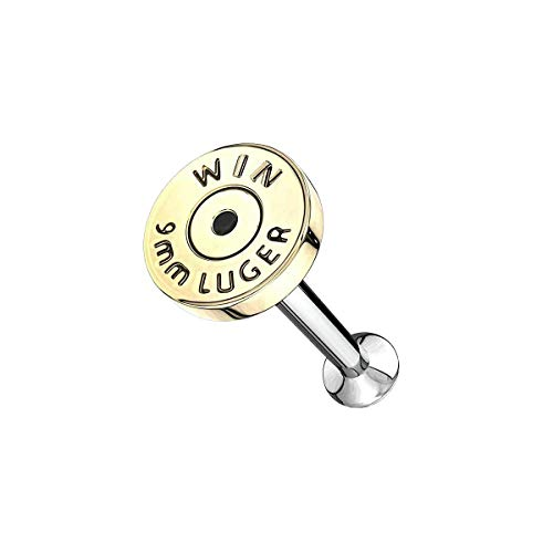 Pendiente para cartílago de oreja con rosca interna, diseño de bala