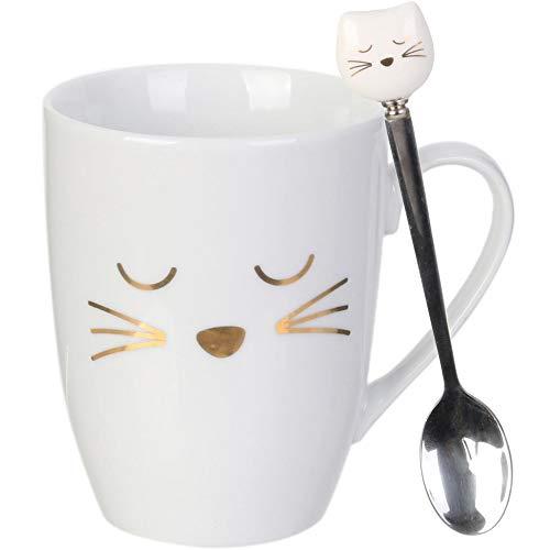 Home Deco Factory KA4189 - Taza con cuchara, diseño de gato blanco dorado y gris cromado (cerámica y acero inoxidable, 11,5 x 10 cm)