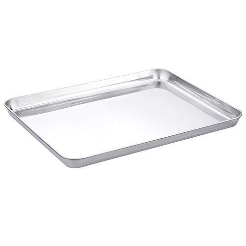 WEZVIX Backblech, Edelstahl Rechteckige Backform Ofenblech zum Backen 40 x 30 x 2.5 cm Kuchenblech, ungiftig und gesund, rostfrei und weniger klebrig, leicht zu reinigen und spülmaschinenfest