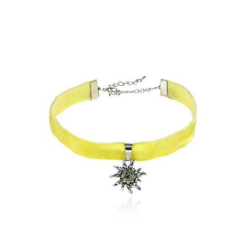 Alpenklunker Halsband Choker Kropfband Edelweiß viele Farben passend zum Dirndl Tracht Schmuckrausch Farbe Hell grün
