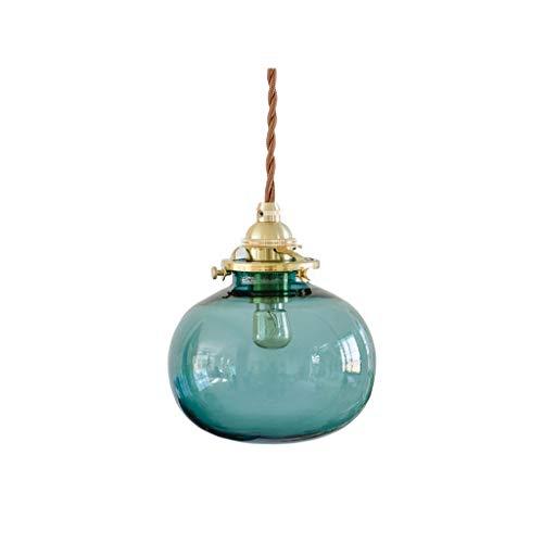 FREEJEVI lámpara Colgante Lámpara Colgante de latón Vintage, Pantalla de Cristal Azul-Verde, luz Colgante, Dormitorio Cocina Sala de Estar araña, 12 x 11 cm lámpara Colgante