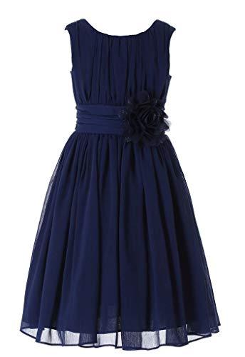 Bow Dream Little Girls Elegant Ruffle Chiffon Summer Flowers Girls Dresses Junior Bridesmaids Navy 12