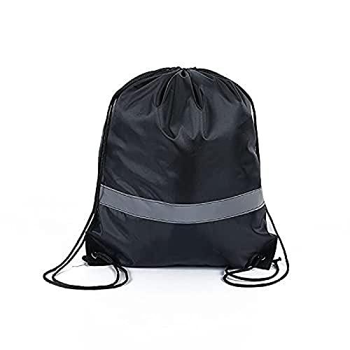 Bolsa de cuerda con cordón Mochila Bagschool Yoga Sport Gym Viajar 35* 42cm, Negro, Talla única