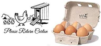 Please Return Carton Chicken Egg Rubber Stamp