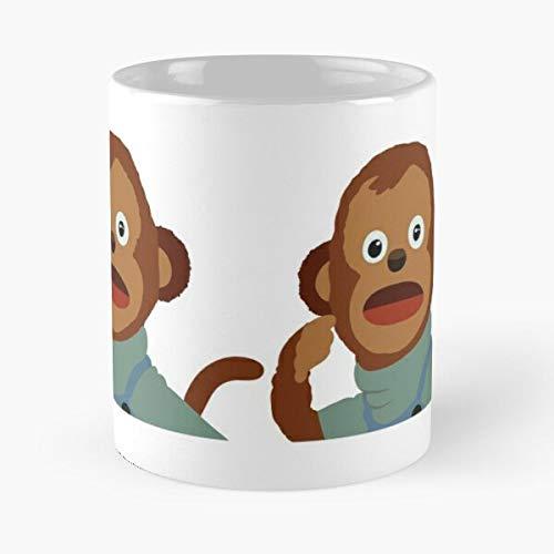 Meme Hipster Monkey Shock Internet Popular Funny Indie Eat Food Bite John Best Taza de café de cerámica de 11 onzas
