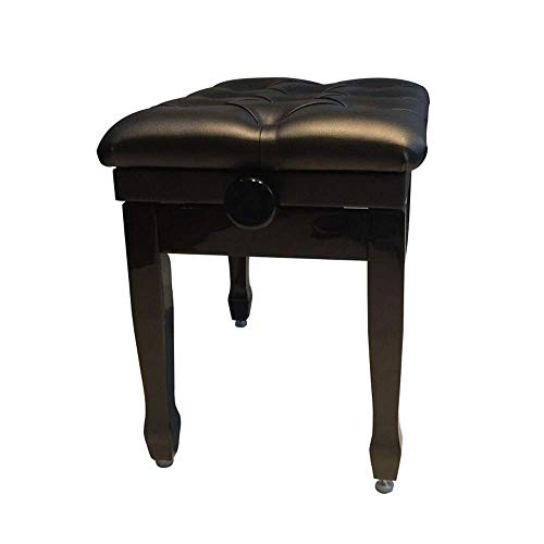 PIVFEDQX Piano Stool Solid Wood Paint Waterproof Keyboard Bench Soft Thicken PU Leather with Storage Bookcase Comfortable Seating Experience (Color : Black, Size : Thicken)