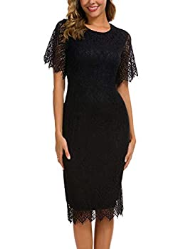 Little Black Dress for Women Lace Floral Special Occasions Elegant Short Sleeves Cocktail Party Outdoor Semi Formal Evening Shift Midi Dresses 931  S Black