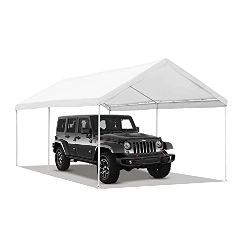DOIT 10 x 20 ft Carport Car Canopy Portable Garage Heavy Duty Car Tent Shelter for Vehicles, Storage,Boat,Party, Wedding with 6 Stakes&Ropes