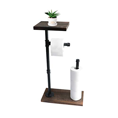 KES Freestanding Toilet Paper Holder Stand with Reserve Rustic Toilet Paper Storage with Wooden Shelf Industrial Iron Pipe and Wooden Base Black, BPH505-BK