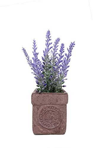 L2b Mini Artificial Plants Lavenders in Stamped Terra Cotta Clay Pot, Great Home or Office Decor (Lavender)