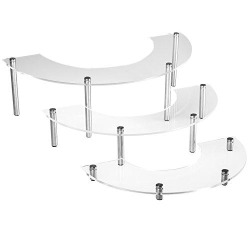 3Ebenen klar Acryl & silberfarbenes Metall zinntheken Cupcake Display Ständer/Modern Organizer Rack