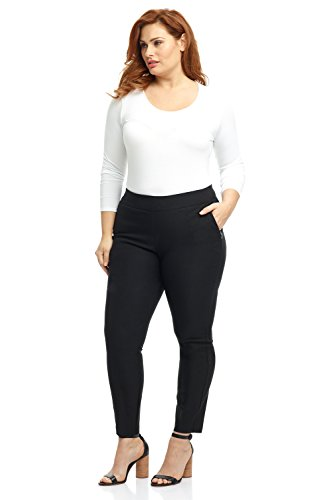 Rekucci Curvy Woman Ease in to Comfort Skinny Plus Size Pant w/Tummy Control (18W,Black)